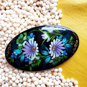 Russian Wooden Floral Handpainted Brooch